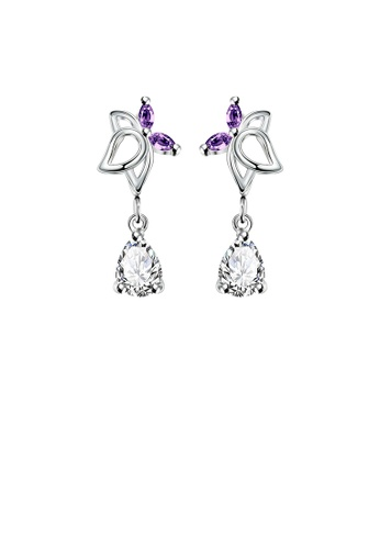 Glamorousky purple Fashion Elegant Hollow Butterfly Earrings with Purple Cubic Zircon A64D1ACE95D546GS_1