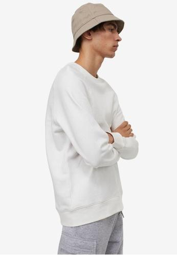 H&M white Sweatshirt Regular Fit 82B81AA89C7A42GS_1