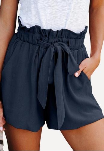 Twenty Eight Shoes navy VANSA Simple Lace-up Wide Leg Shorts   VCW-St3384 7928CAA9E5E7FEGS_1