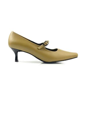 SHINE beige Genuine Leather Mary Jane Point Toe Stiletto Pump DDF75SH3C2232EGS_1