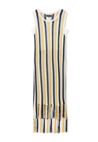 tout à coup white Sleeveless striped fringe dress 048C6AA9427D10GS_1