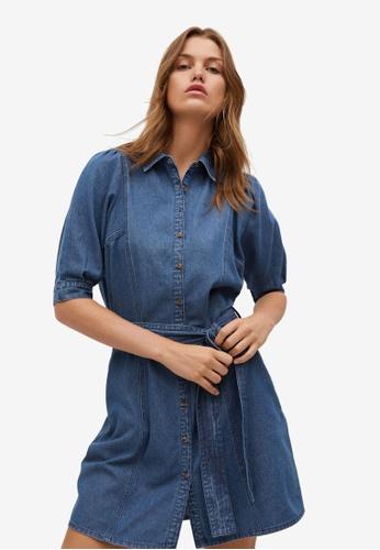 Mango 藍色 丹寧 襯衫洋裝 08482AA9AFFE07GS_1