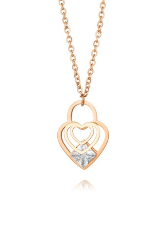 CELOVIS gold CELOVIS - Cristal Heart Lock with Zirconia Pendant Necklace in Rose Gold 13B60ACD117CFCGS_1