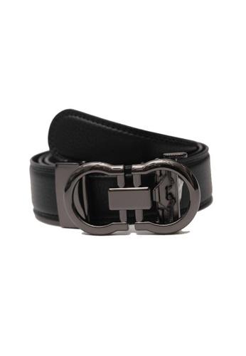 Oxhide black Automatic Buckle Belt - Real Leather Black Ratchet Belt For Men -  ABB3F BLK Oxhide 4BE26AC1E3374AGS_1