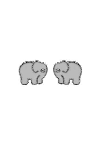 LYCKA silver LDR1360 S925 Silver Cute Elephant Stud Earrings AD2A0AC5193BF6GS_1
