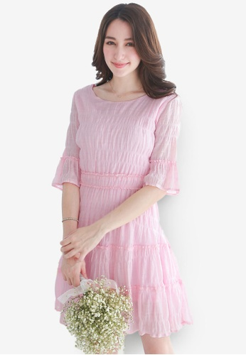 Yoco pink Ruffles Crimp Dress 5F20FAA78510E1GS_1