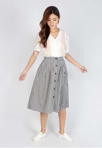 Sophialuv black Button All The Way Midi Skirt in Checks 2D210AA0117B89GS_1