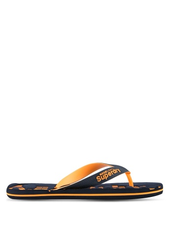 Superdry orange and navy Scuba Flip Flops SU137SH0SLOIMY_1