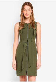 e4f5c815195 Dressing Paula green Front Zip Cady Utility Dress A2F31AADD08D3FGS 1