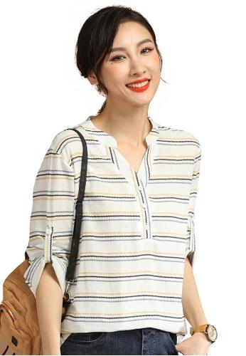 A-IN GIRLS white Loose Striped Long-Sleeved Shirt 3D713AAC3DA2EFGS_1