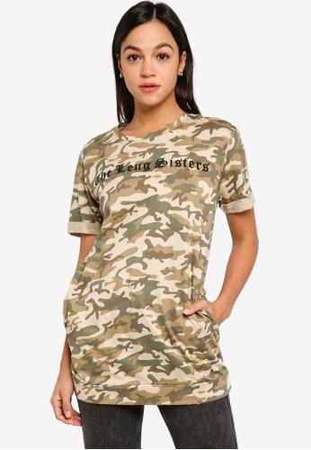 UniqTee brown Camo Folded Sleeves Long Top 54F68AA86A74B8GS_1