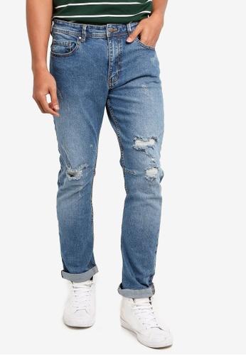 Cotton On 藍色 丹寧刷破牛仔褲 9F068AA241AE78GS_1