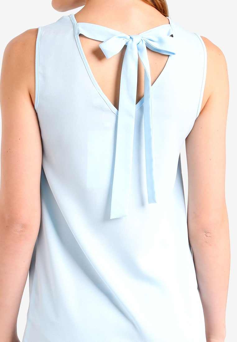 Back ZALORA Pastel BASICS Ribbon Dress Blue Basic q5vFw4x