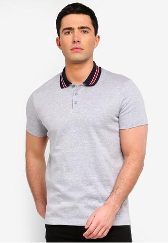 Selected Homme grey Karter Waffle Polo Shirt 5484CAA5109006GS_1