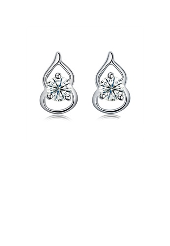 Glamorousky white 925 Sterling Silver Simple Mini Elegant Exquisite Calabash Earrings and Ear Studs with Cubic Zircon 3A493AC04711BEGS_1