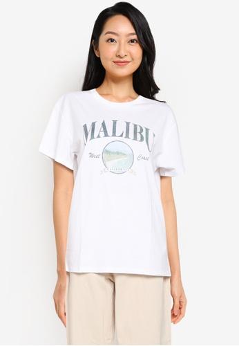 Supre white Lola Printed Longline T Shirt FEBB4AA03EA670GS_1