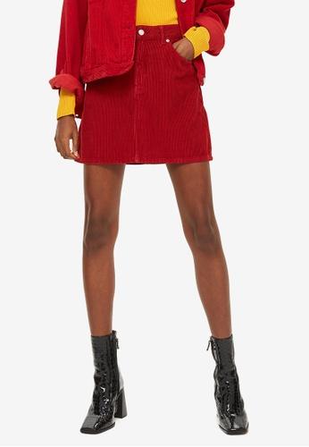 b4fec41c78 Petite Red Corduroy Denim Skirt