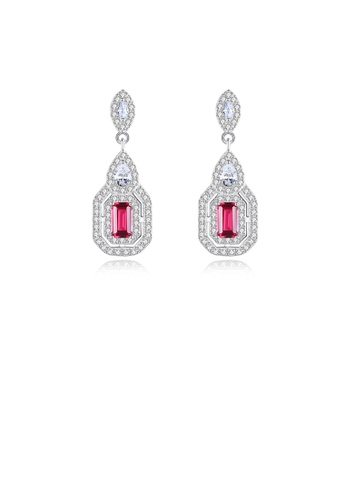 Glamorousky white 925 Sterling Silver Fashion Bright Geometric Water Drop Shaped Pink Cubic Zirconia Stud Earrings 25C07ACD938456GS_1