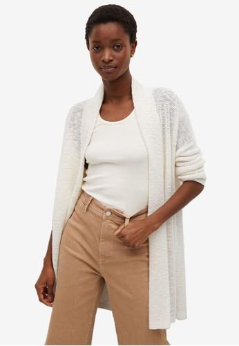 Mango beige Textured Cotton Cardigan A7FDBAA8850019GS_1
