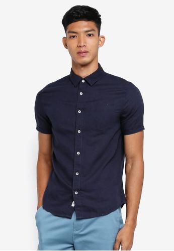 Burton Menswear London 海軍藍色 短袖亞麻襯衫 ACCB6AA205E7B1GS_1