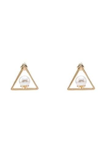 三角形鏤空珍珠耳環, 飾品配件,zalora 內衣 其他