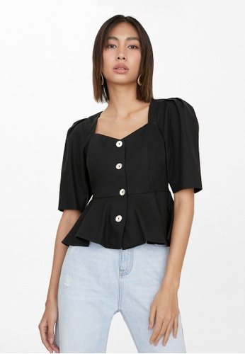 Pomelo black Puffed Sleeve Smock Top - Black E16FCAAF581FC6GS_1