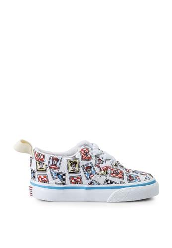 Vans white and blue and multi Vans X Where's Waldo Era Elastic Lace Sneakers 5DB95KS572FBFEGS_1