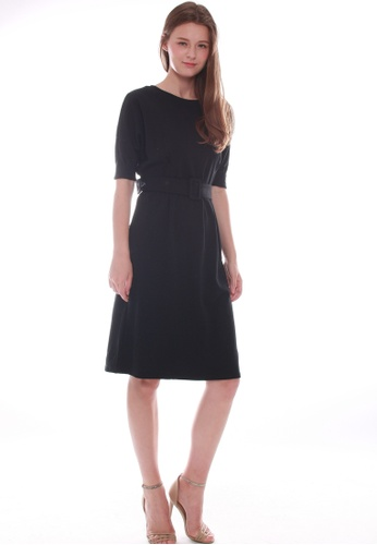 JOVET black Pleated Waist Dress 33380AA25508ADGS_1
