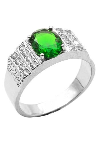 Elfi silver Elfi 925 Genuine Silver Engagement Ring R19 - Green Sapphire 26BBAAC0503F01GS_1