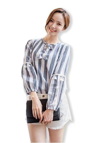 Sunnydaysweety multi 2017 F/W New Striped Printed Ladies Shirt UA091213 SU219AA0FSUBSG_1