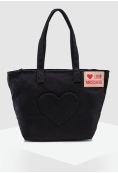 aa1056f3fbc4 Love Moschino black Dark Denim Tote Bag 89455ACFDB781BGS 1