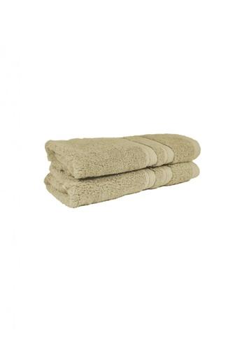 Primeo beige Premium Beige Hand Towel 520gsm Soft High Absorbent Set of 2 2F86AHL8C7BA28GS_1
