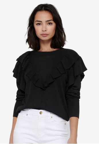 JACQUELINE DE YONG black Anry Long Sleeves Frill Pullover Sweatshirt 4C739AA7E2EB91GS_1
