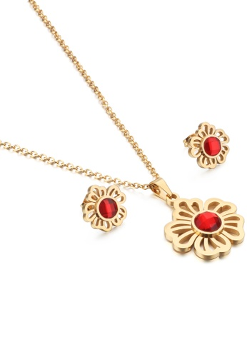 Glamorousky red Fashion and Elegant Plated Gold Flower 316L Stainless Steel Necklace and Stud Earrings with Red Cubic Zirconia 5A031AC9D357B9GS_1