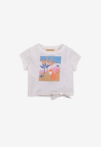 Gingersnaps white Baby Girls Safari Print T-Shirt 05871KAFCAEFCDGS_1