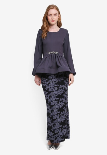 Zuco Fashion grey Midi Peplum High-Low Kurung ZU882AA0SXVIMY_1