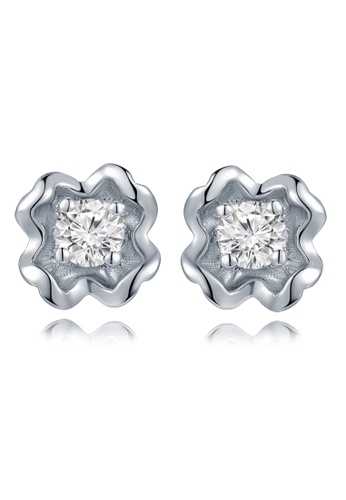 MaBelle silver 18K/750 White Gold Single Diamond Floral Flower Earrings 2E7CFACABAC28EGS_1