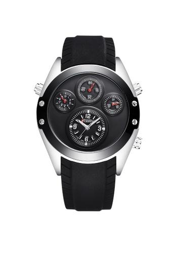 curren black and silver Curren 8141 Men's Fashion Rubber Strap Classic Watch (Silver Black) CU537AC30TEFMY_1