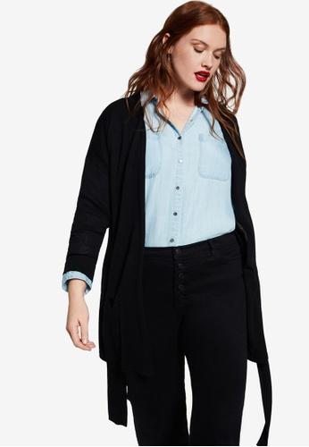 Violeta by MANGO black Plus Size Tie Cardigan BD9B9AAE026A56GS_1