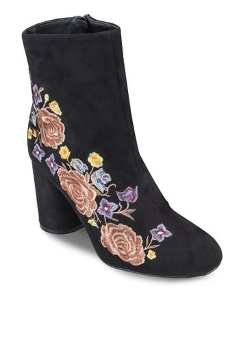 刺繡花esprit 工作卉高跟粗跟短靴, 女鞋, 鞋