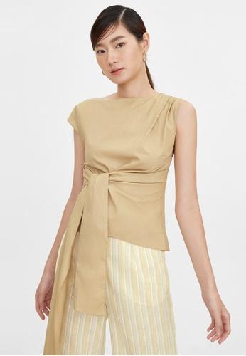 Pomelo beige Front Tie Asymmetrical Sleeve Blouse - Beige C8D06AAF25D055GS_1