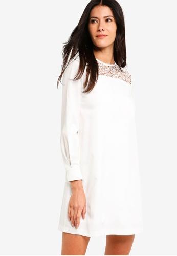 ZALORA white Balloon Sleeves Shift Dress 2E89DAA5145731GS_1