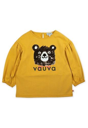 Vauva yellow Vauva Girls Sequin Bear Top - Yellow 9B143KA8654616GS_1