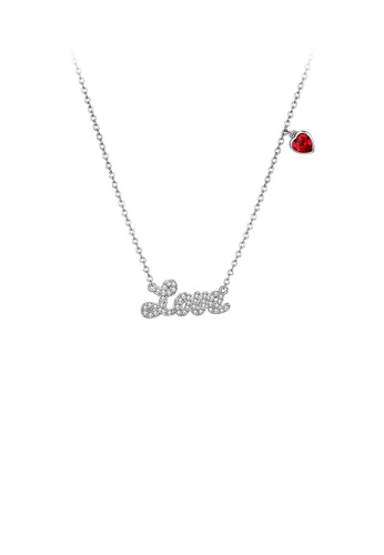 Glamorousky white 925 Sterling Silver Romantic Letter Love and Red Heart Necklace with Austrian Element Crystal DAB60AC3A9CA32GS_1