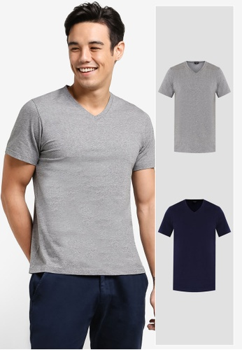 ZALORA grey and navy 2 Pack Cotton V Neck Short Sleeve Tee ZA919AA94THPSG_1