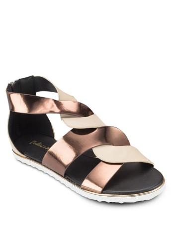 雙色亮面交叉涼esprit 台中鞋, 女鞋, 鞋