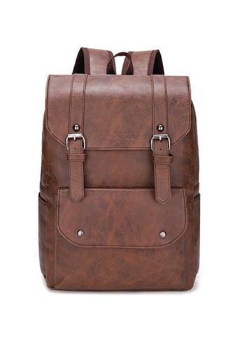 Lara brown Men's Leather Flap Backpack - Dark Brown 51E32ACF9C177FGS_1