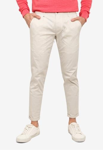 SPARROW GREEN beige Fred Single Pleat Slim Pants 7D96CAA3F1AF5EGS_1