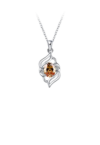 Glamorousky gold Fashion Elegant Geometric Pendant with Champagne Cubic Zircon and Necklace 0F202AC02BFBEFGS_1