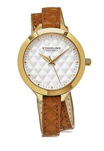 Deauville 658 纏繞式菱格esprit outlet 台中紋圓錶, 錶類, 皮革錶帶